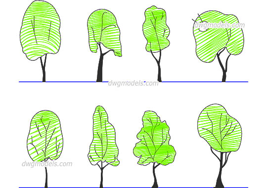 Tree Line Drawing dwg, cad file download free