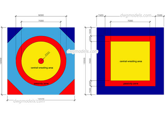 Wrestling Mat Sizes - DWG, CAD Block, drawing