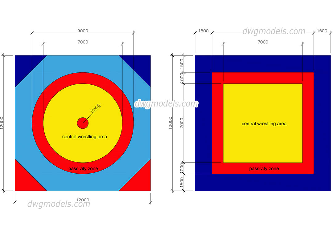 Wrestling Mat Sizes dwg, CAD Blocks, free download.