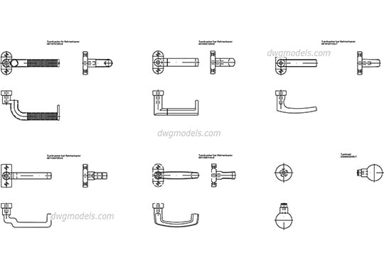 Door and Window Handles free dwg model