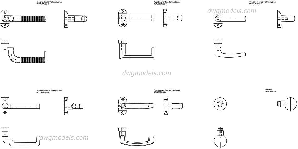 Door and Window Handles AutoCAD, download free CAD blocks