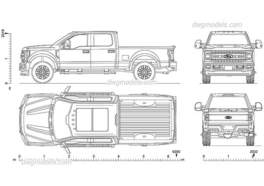 Ford F-250 Super Duty - DWG, CAD Block, drawing