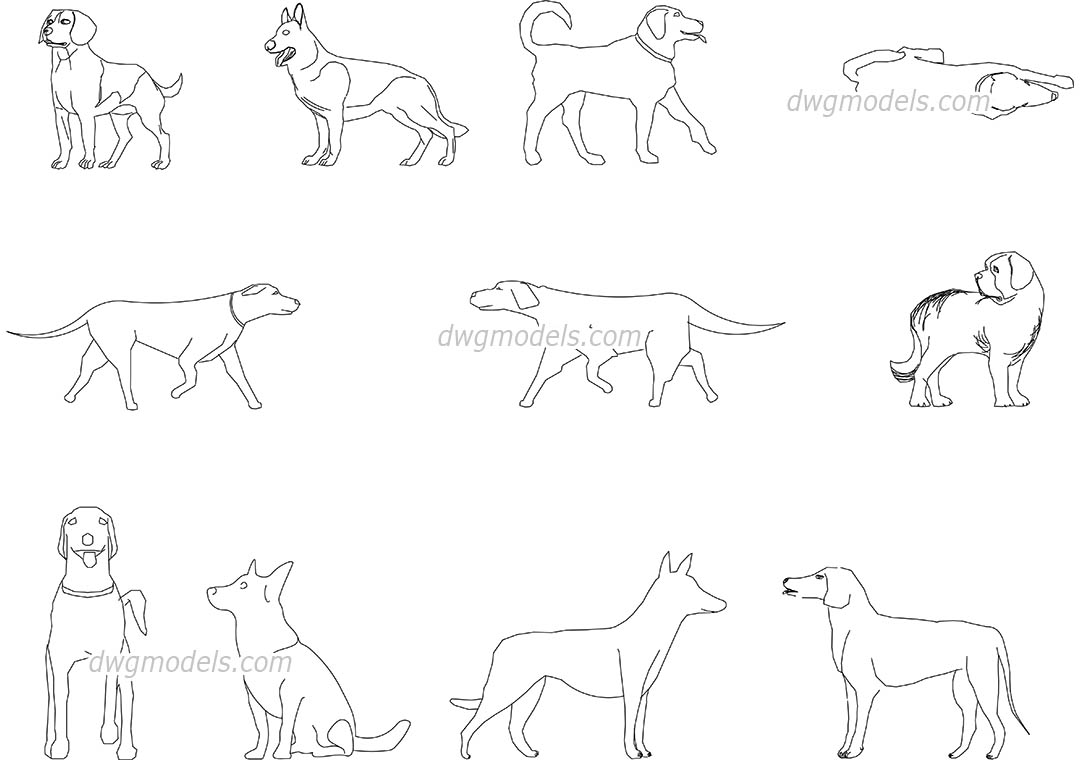 Dogs dwg, CAD Blocks, free download.