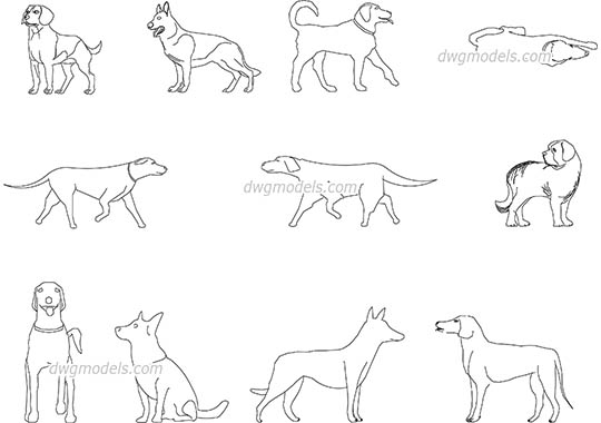 Dogs - DWG, CAD Block, drawing
