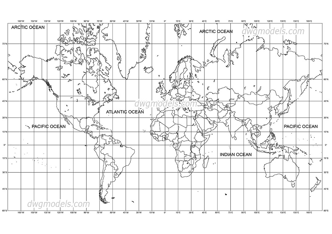 World Map dwg, CAD Blocks, free download.