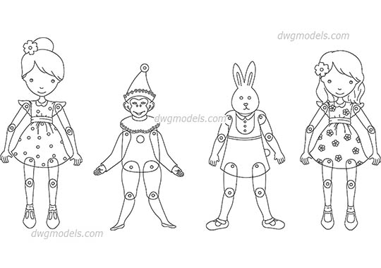 Dolls dwg, cad file download free