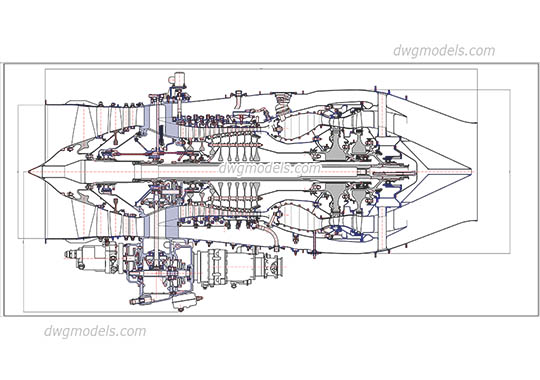 Turbofan Engine dwg, cad file download free