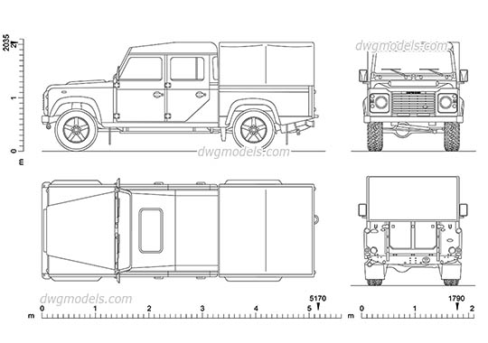 Land Rover Defender 130 dwg, cad file download free
