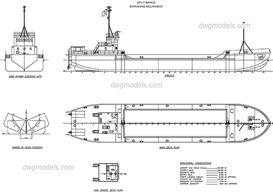 Split Barge dwg, cad file download free