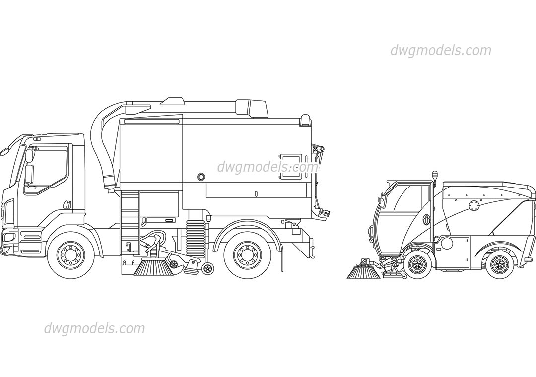 Street Sweepers dwg, CAD Blocks, free download.