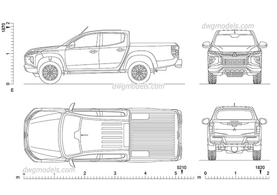Mitsubishi L200 Crew Cab dwg, cad file download free