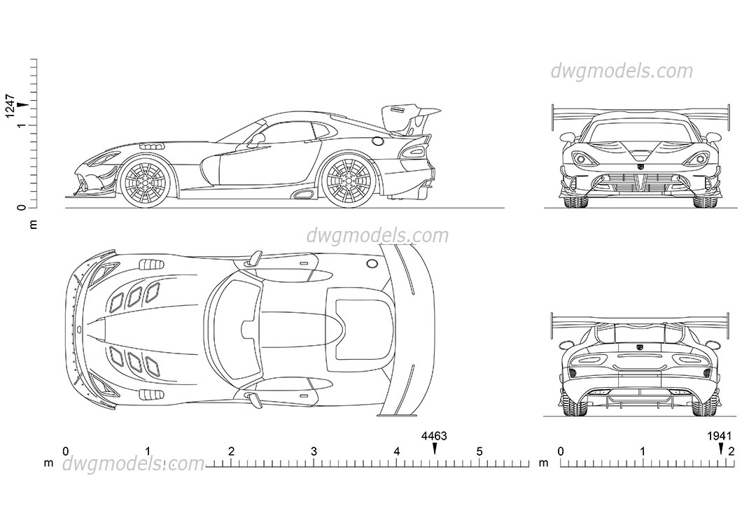 Dodge Viper ACR dwg, CAD Blocks, free download.