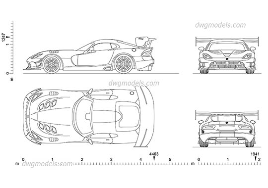 Dodge Viper ACR dwg, cad file download free