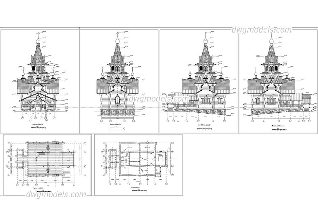 Stave Church dwg, CAD Blocks, free download.