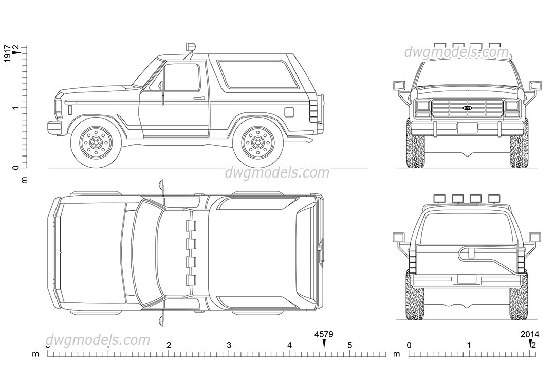 Ford Bronco (1985) dwg, CAD Blocks, free download.