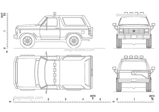 Ford Bronco (1985) dwg, cad file download free