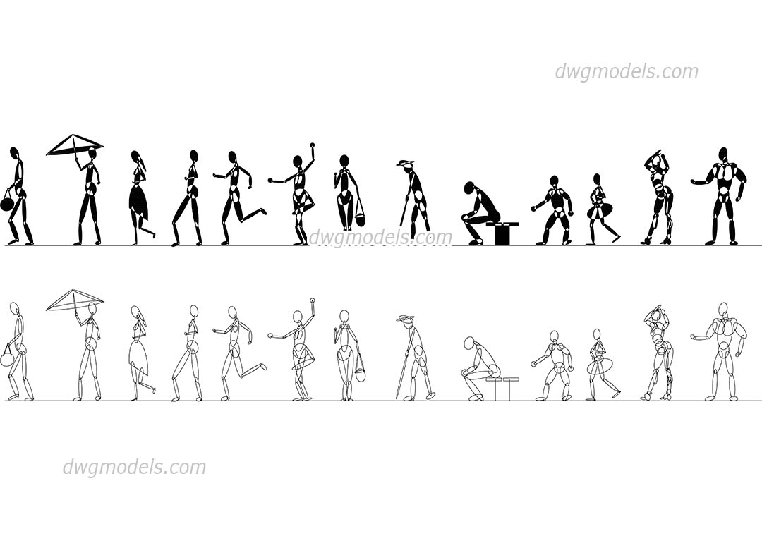 Stylized Human Figures dwg, CAD Blocks, free download.