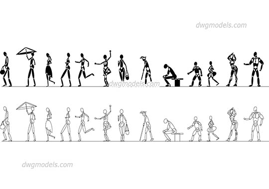 Stylized Human Figures dwg, cad file download free