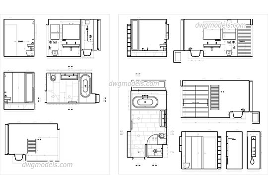 Bathroom Design dwg, cad file download free