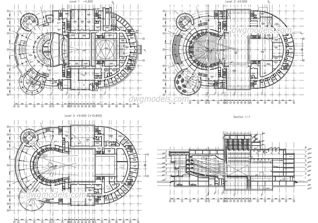 Opera House dwg, CAD Blocks, free download.
