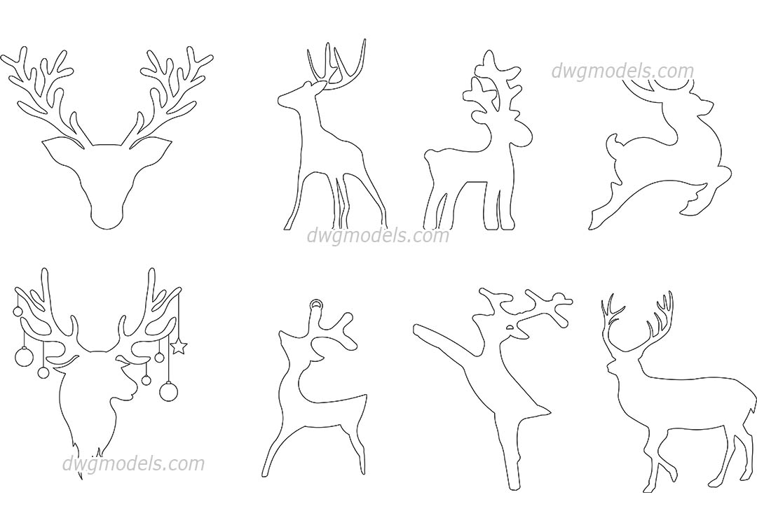 Reindeer Outline dwg, CAD Blocks, free download.