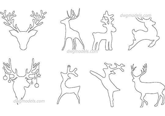 Reindeer Outline dwg, cad file download free