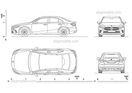 Mercedes-Benz A-Class Sedan dwg, cad file download free