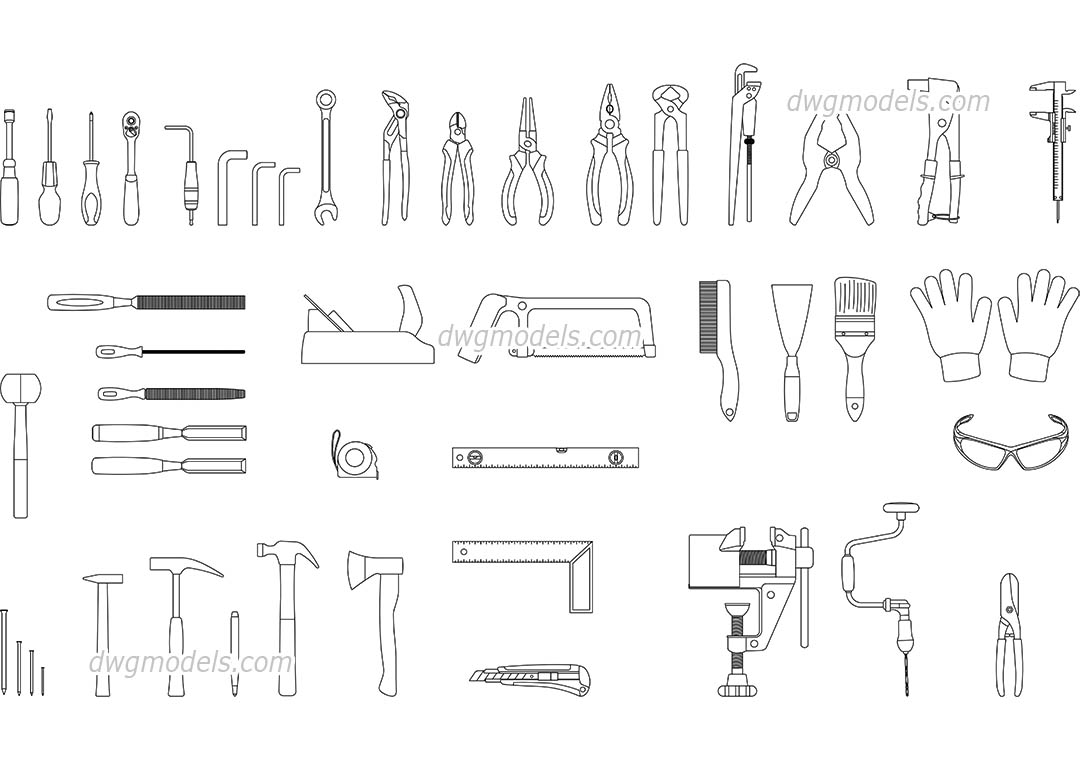 Construction Tools dwg, CAD Blocks, free download.