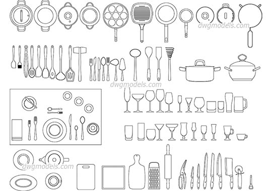 Kitchenware free dwg model