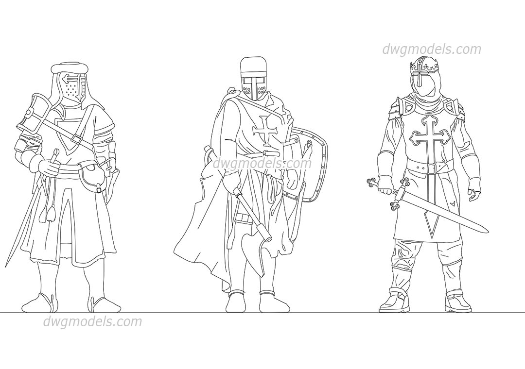 Medieval Knights dwg, CAD Blocks, free download.