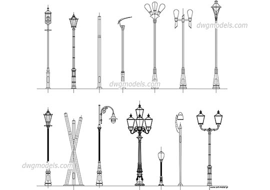 Public Lighting - DWG, CAD Block, drawing