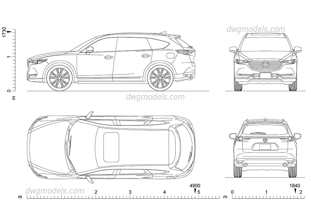 Mazda CX-8 dwg, CAD Blocks, free download.
