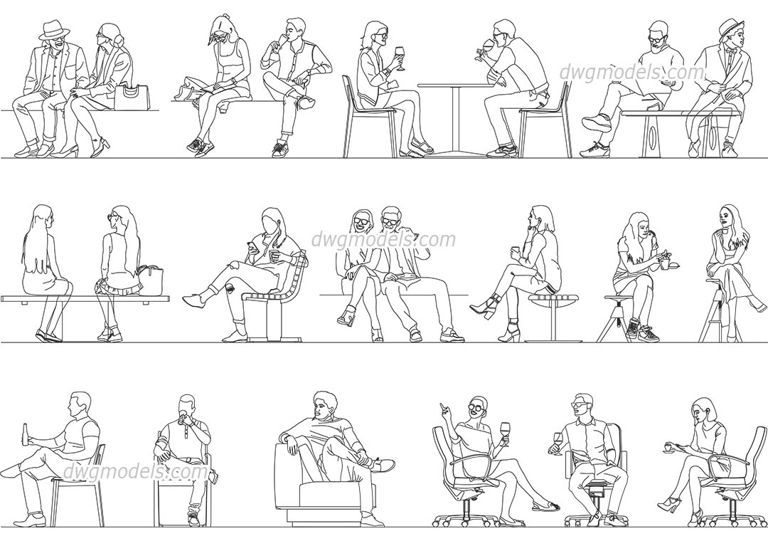 Sitting Person Set dwg, CAD Blocks, free download.