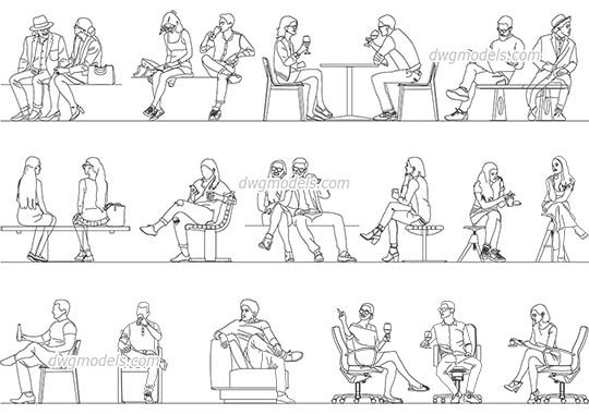 Sitting Person Set AutoCAD blocks