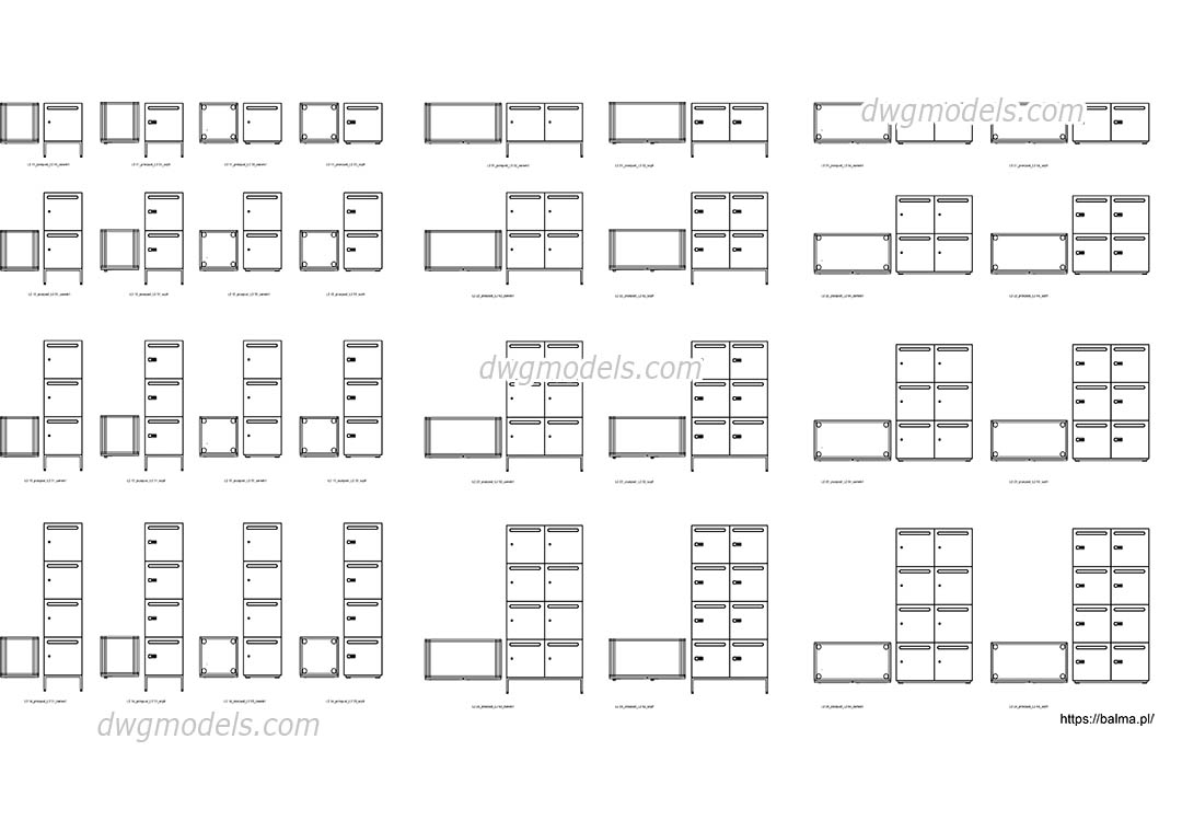 Lockers dwg, CAD Blocks, free download.