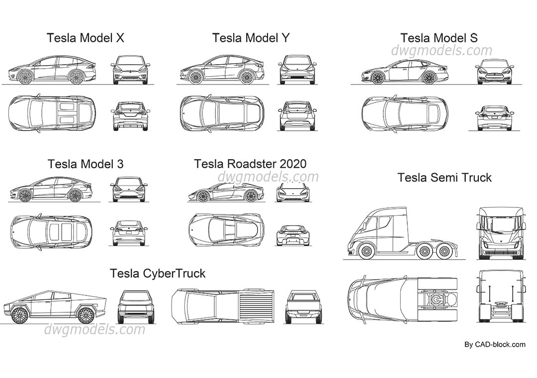 Tesla All Models dwg, CAD Blocks, free download.