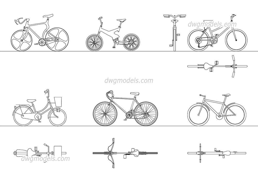 Bicycles 1 dwg, CAD Blocks, free download.