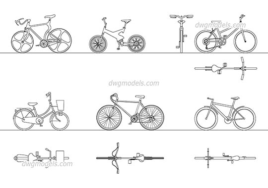 Bicycles 1 - DWG, CAD Block, drawing