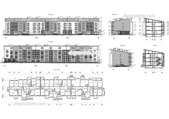 Three Storey Building dwg, cad file download free