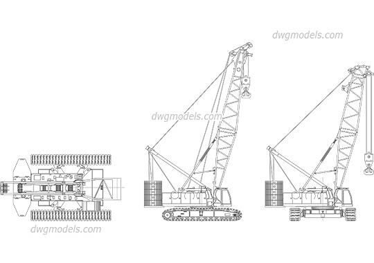 SANY Crawler Crane SCC1800 dwg, cad file download free